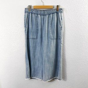 Anthropologie Cloth and Stone Chambray Wide Leg Crop Raw Hem Pants Size: Large